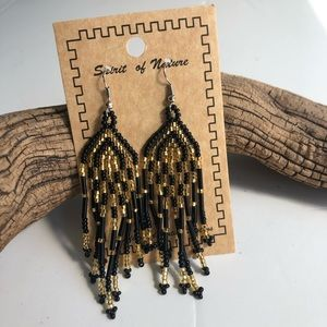 Black and gold Boho dangle beaded earrings.